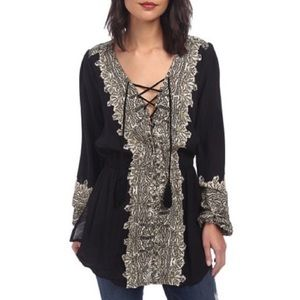Free People Wildest Moments Lace Up Tunic Top
